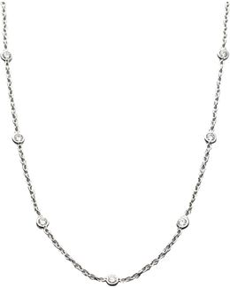 Diamond & 18k White Gold Station Necklace