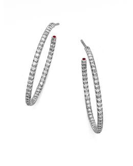 Diamond & 18k White Gold Large Hoop Earrings/1