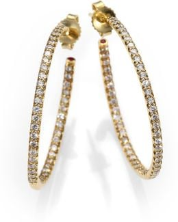 Diamond & 18k Yellow Gold Hoop Earrings/1.2
