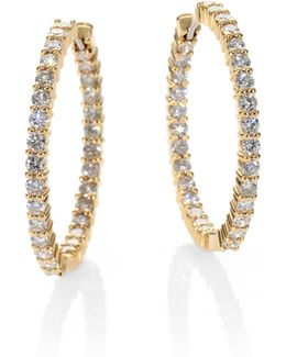 Diamond & 18k Yellow Gold Hoop Earrings/1.15
