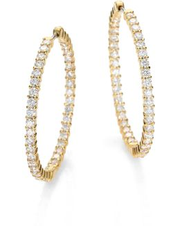 Diamond & 18k Yellow Gold Hoop Earrings/2.5