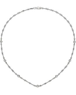 Diamond & 18k White Gold Station Necklace/16