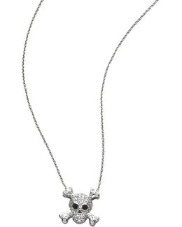 Tiny Treasures Diamond & 18k White Gold Skull Pendant Necklace