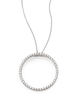 Tiny Treasures Diamond & 18k White Gold Large Circle Pendant Necklace