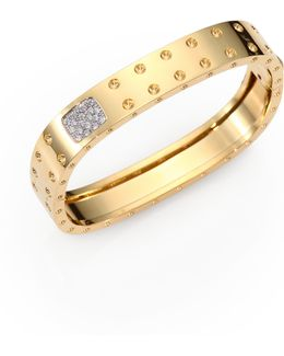 Pois Moi Diamond And 18k Yellow Gold Two-row Bangle Bracelet