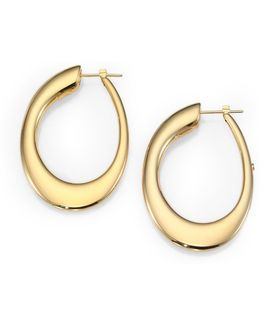 18k Yellow Gold Oval Hoop Earrings/1.8
