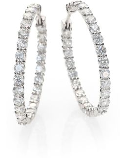 Diamond & 18k White Gold Inside-outside Hoop Earrings/1.25