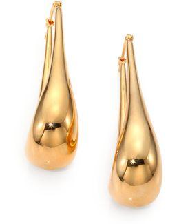 18k Yellow Gold Oval Hoop Earrings/1.75