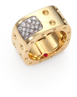 Pois Moi Diamond & 18k Yellow Gold Two-row Square Ring