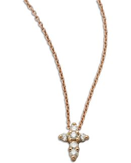 Tiny Treasures Diamond & 18k Rose Gold Mini Cross Pendant Necklace