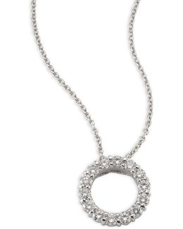 Small Circle Diamond & 18k White Gold Pendant Necklace