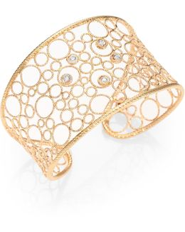 Bollicine Diamond & 18k Rose Gold Large Cuff Bracelet