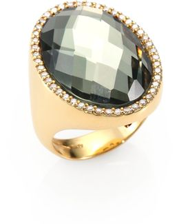 Cocktail Prasiolite, Diamond & 18k Yellow Gold Ring