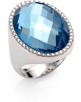 Cocktail Blue Topaz, Diamond & 18k White Gold Ring