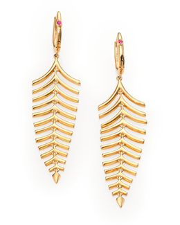 18k Yellow Gold Fishbone Drop Earrings