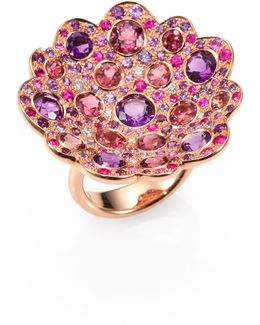 Fantasia Semi-precious Multi-stone, Diamond & 18k Rose Gold Flower Ring