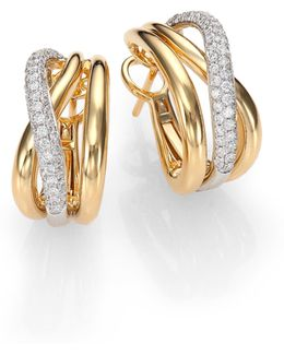 Diamond, 18k White & Yellow Gold Crossover J-hoop Earrings