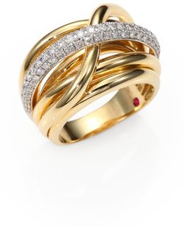 Classica Diamond & 18k Yellow Gold Crossover Ring