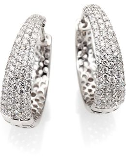 Scalare Diamond & 18k White Gold Hoop Earrings/0.75