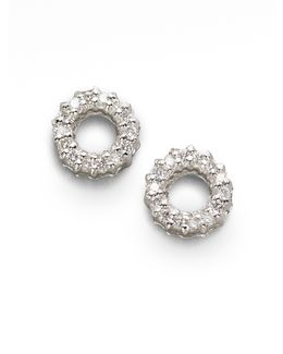 Diamond & 18k White Gold Circle Earrings