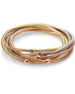 Primavera 18k White, Rose & Yellow Gold Six-row Bracelet