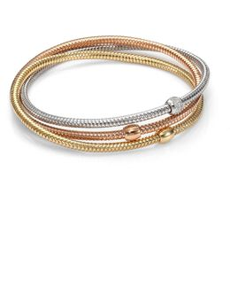 Primavera Diamond, 18k White, Rose & Yellow Gold Three-row Interlocked Bracelet