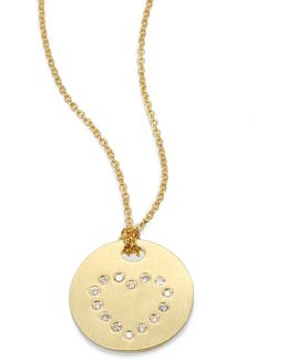 Tiny Treasures Diamond & 18k Yellow Gold Heart Disc Pendant Necklace