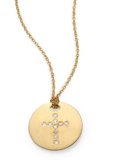 Tiny Treasures Diamond & 18k Yellow Gold Cross Disc Pendant Necklace