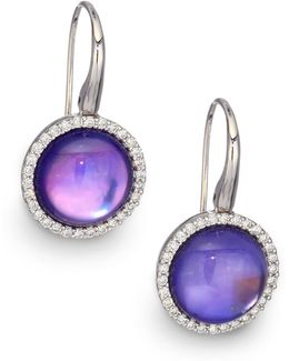 Cocktail Amethyst, Lapis, Mother-of-pearl, Diamond & 18k White Gold Drop Earrings