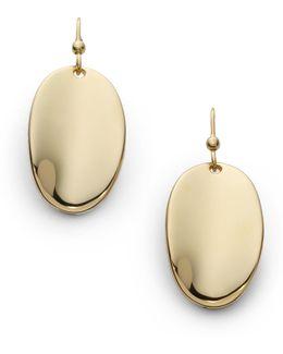 18k Yellow Gold Oval Drop Earrings