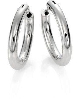 18k White Gold Oval Hoop Earrings/1
