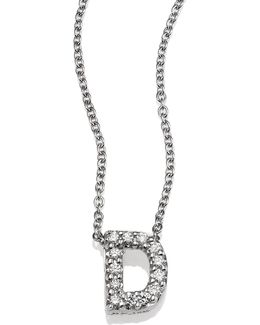 Tiny Treasures Diamond & 18k White Gold Love Letter Pendant Necklace