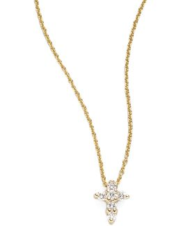 Tiny Treasures Diamond & 18k Yellow Gold Mini Cross Pendant
