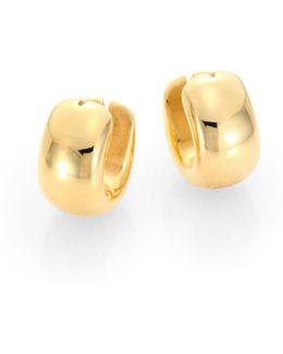 18k Yellow Gold Huggie Hoop Earrings/0.6