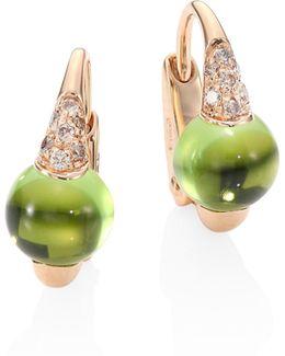 M'ama Non M'ama Brown Diamond, Peridot & 18k Rose Gold Leverback Earrings