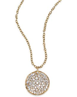Stardust Diamond & 18k Yellow Gold Disc Pendant Necklace
