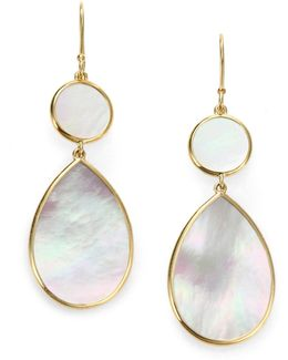 Polished Rock Candy Mother-of-pearl & 18k Yellow Gold Snowman Drop Earrings