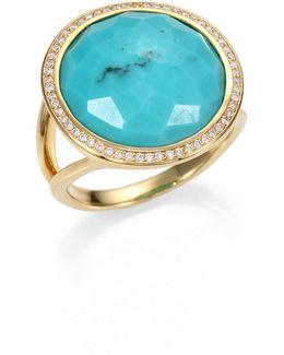 Lollipop Turquoise, Diamond & 18k Yellow Gold Ring