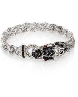 Naga Black Sapphire & Sterling Silver Dragon Braided Bracelet
