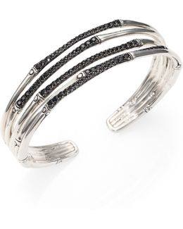 Bamboo Black Sapphire & Sterling Silver Four-band Narrow Bracelet