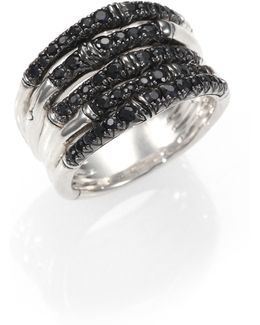 Bamboo Black Sapphire & Sterling Silver Multi-band Ring