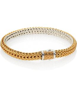 Classic Chain 18k Yellow Gold & Sterling Silver Small Reversible Bracelet