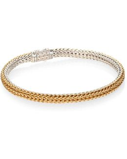Classic Chain 18k Yellow Gold & Sterling Silver Extra-small Reversible Bracelet