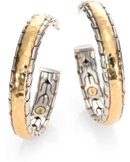 Palu 18k Yellow Gold & Sterling Silver Medium Hoop Earrings/2.5