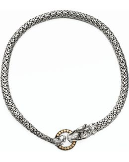 Naga 18k Yellow Gold & Sterling Silver Dragon Necklace