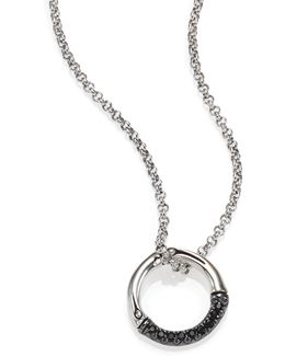 Bamboo Black Sapphire & Sterling Silver Round Small Pendant Necklace