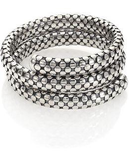 Dot Sterling Silver Double-coil Bracelet