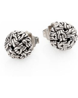 Classic Chain Sterling Silver Knot Stud Earrings