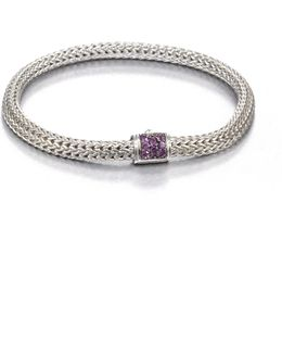 Classic Chain Amethyst & Sterling Silver Extra-small Bracelet