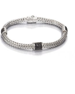 Classic Chain Black Sapphire & Sterling Silver Four-station Bracelet